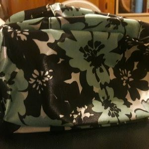 Handbags - 2 Turquoise Black and White Floral Make Up Bags